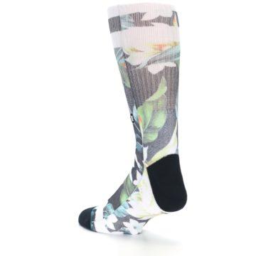 Image of Black White Green Flowered Men's Casual Socks (side-2-back-15)
