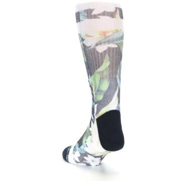 Image of Black White Green Flowered Men's Casual Socks (side-2-back-16)