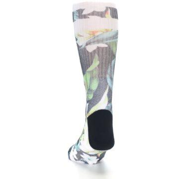 Image of Black White Green Flowered Men's Casual Socks (back-17)