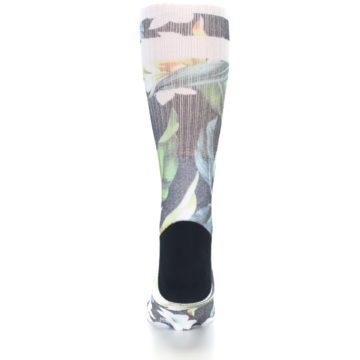 Image of Black White Green Flowered Men's Casual Socks (back-18)