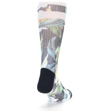 Image of Black White Green Flowered Men's Casual Socks (side-1-back-20)