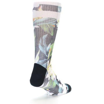 Image of Black White Green Flowered Men's Casual Socks (side-1-back-21)