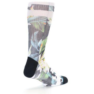 Image of Black White Green Flowered Men's Casual Socks (side-1-back-22)