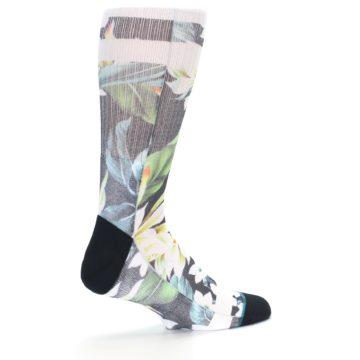 Image of Black White Green Flowered Men's Casual Socks (side-1-23)