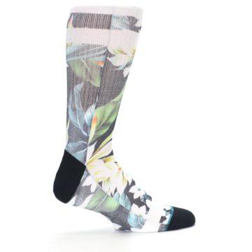 Image of Black White Green Flowered Men's Casual Socks (side-1-24)