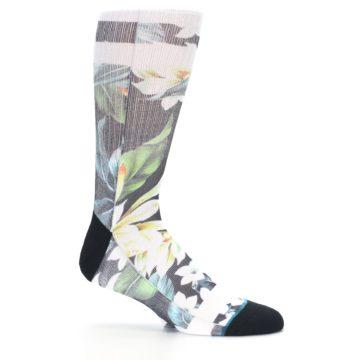Image of Black White Green Flowered Men's Casual Socks (side-1-25)