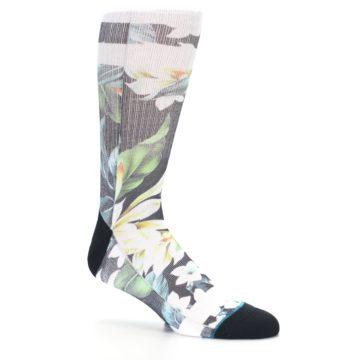 Image of Black White Green Flowered Men's Casual Socks (side-1-26)