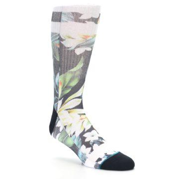 Image of Black White Green Flowered Men's Casual Socks (side-1-27)