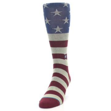 Image of Red Blue White July Fourth Men's Casual Socks (side-2-front-06)