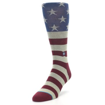 Image of Red Blue White July Fourth Men's Casual Socks (side-2-front-07)