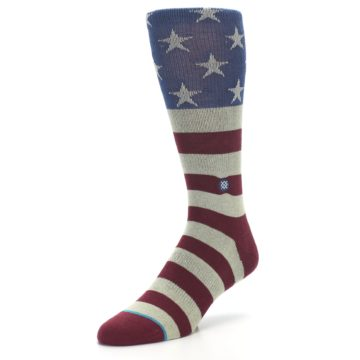 Image of Red Blue White July Fourth Men's Casual Socks (side-2-front-08)