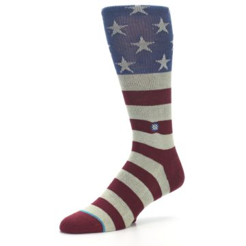 Image of Red Blue White July Fourth Men's Casual Socks (side-2-09)