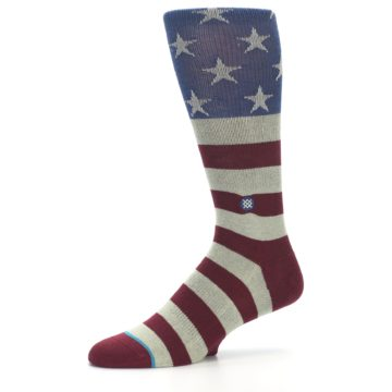 Image of Red Blue White July Fourth Men's Casual Socks (side-2-10)