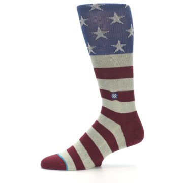Image of Red Blue White July Fourth Men's Casual Socks (side-2-11)