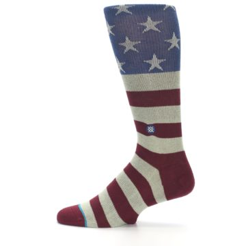 Image of Red Blue White July Fourth Men's Casual Socks (side-2-12)