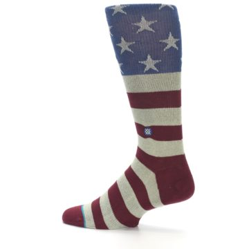 Image of Red Blue White July Fourth Men's Casual Socks (side-2-13)