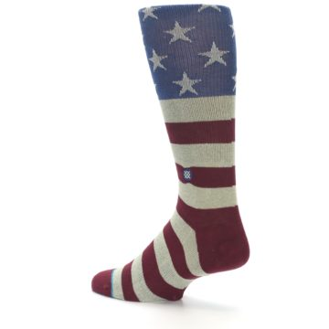 Image of Red Blue White July Fourth Men's Casual Socks (side-2-back-14)