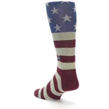 Image of Red Blue White July Fourth Men's Casual Socks (side-2-back-15)