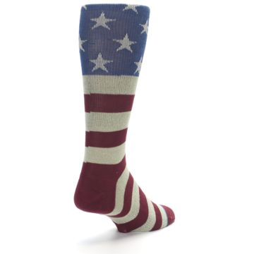Image of Red Blue White July Fourth Men's Casual Socks (side-1-back-21)