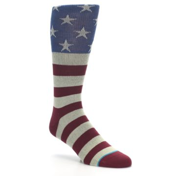 Image of Red Blue White July Fourth Men's Casual Socks (side-1-27)
