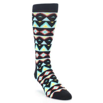 Image of Black Blue Temple Pattern Men's Dress Socks (side-1-front-02)