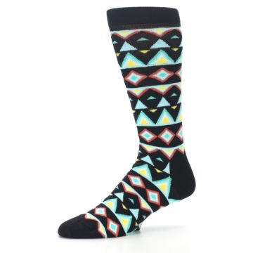 Image of Black Blue Temple Pattern Men's Dress Socks (side-2-10)