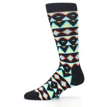 Image of Black Blue Temple Pattern Men's Dress Socks (side-2-11)