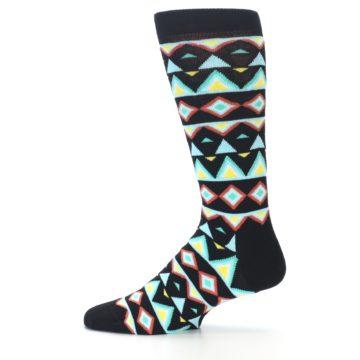 Image of Black Blue Temple Pattern Men's Dress Socks (side-2-12)