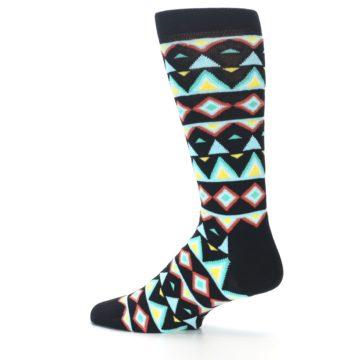 Image of Black Blue Temple Pattern Men's Dress Socks (side-2-13)