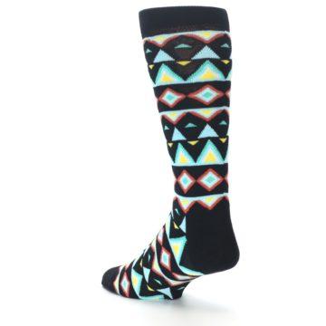Image of Black Blue Temple Pattern Men's Dress Socks (side-2-back-15)