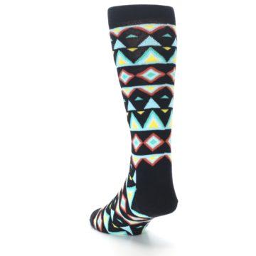 Image of Black Blue Temple Pattern Men's Dress Socks (side-2-back-16)