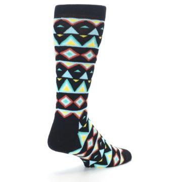 Image of Black Blue Temple Pattern Men's Dress Socks (side-1-back-22)
