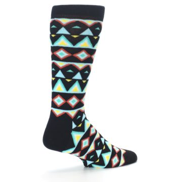 Image of Black Blue Temple Pattern Men's Dress Socks (side-1-23)