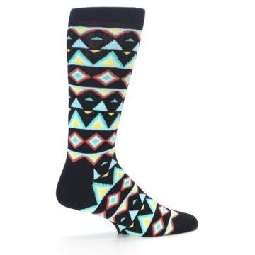 Image of Black Blue Temple Pattern Men's Dress Socks (side-1-24)