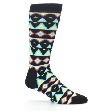 Image of Black Blue Temple Pattern Men's Dress Socks (side-1-25)