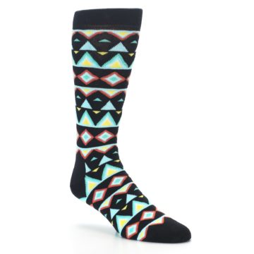 Image of Black Blue Temple Pattern Men's Dress Socks (side-1-27)