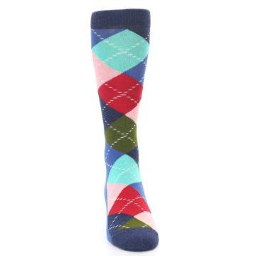 Image of Blue Red Green Multicolor Argyle Men's Dress Socks (front-04)
