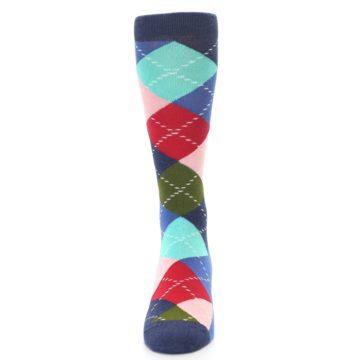 Image of Blue Red Green Multicolor Argyle Men's Dress Socks (front-05)