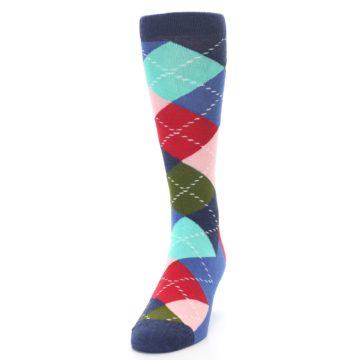 Image of Blue Red Green Multicolor Argyle Men's Dress Socks (side-2-front-06)