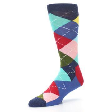 Image of Blue Red Green Multicolor Argyle Men's Dress Socks (side-2-09)