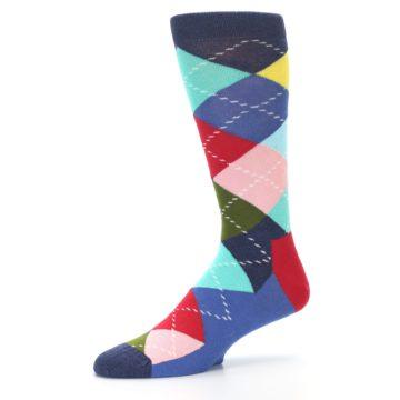 Image of Blue Red Green Multicolor Argyle Men's Dress Socks (side-2-10)
