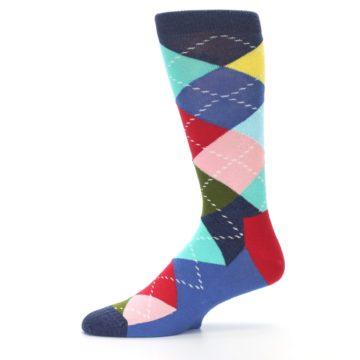 Image of Blue Red Green Multicolor Argyle Men's Dress Socks (side-2-11)
