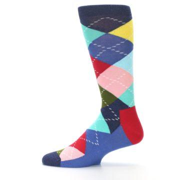 Image of Blue Red Green Multicolor Argyle Men's Dress Socks (side-2-12)