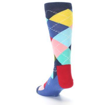 Image of Blue Red Green Multicolor Argyle Men's Dress Socks (side-2-back-16)