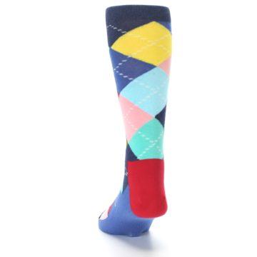 Image of Blue Red Green Multicolor Argyle Men's Dress Socks (back-17)