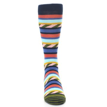 Image of Blue Orange Multicolor Stripes Men's Dress Socks (front-04)