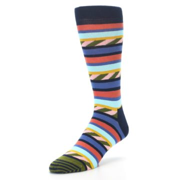 Image of Blue Orange Multicolor Stripes Men's Dress Socks (side-2-front-08)