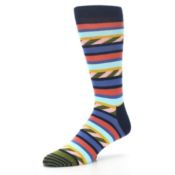 Image of Blue Orange Multicolor Stripes Men's Dress Socks (side-2-09)