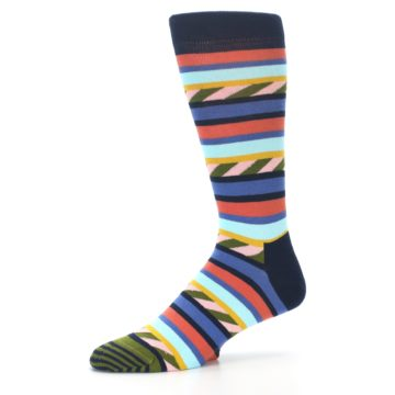 Image of Blue Orange Multicolor Stripes Men's Dress Socks (side-2-10)