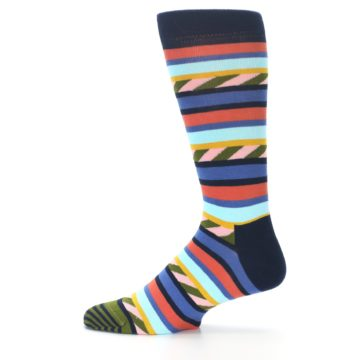 Image of Blue Orange Multicolor Stripes Men's Dress Socks (side-2-12)